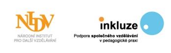 Logo Národního institutu pro další vzdělávání, a Inkluze - Podpora společného vzdělávání v pedagogické praxi